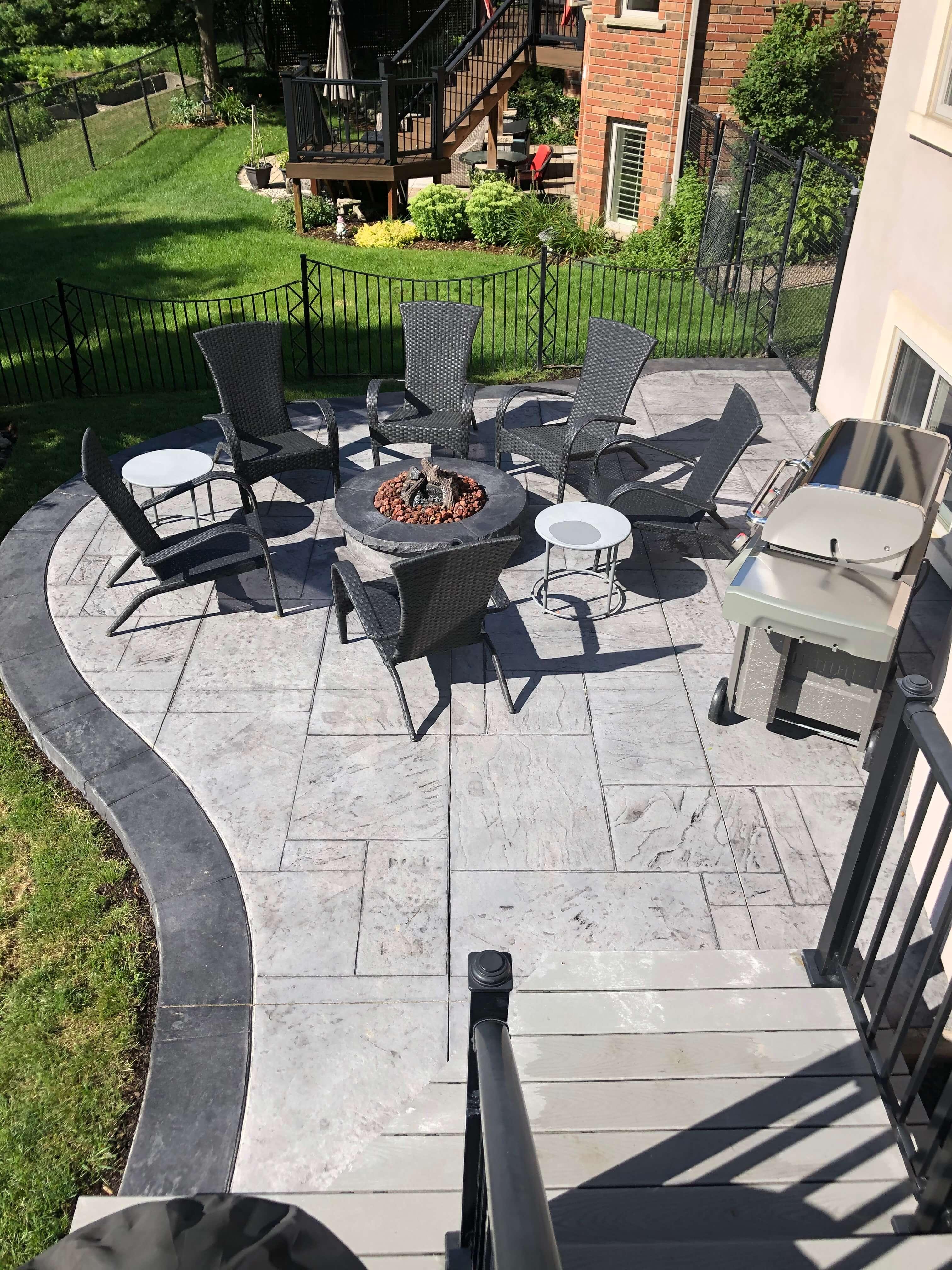 Yorkstone Patio & Fire-pit, Platinum & Charcoal